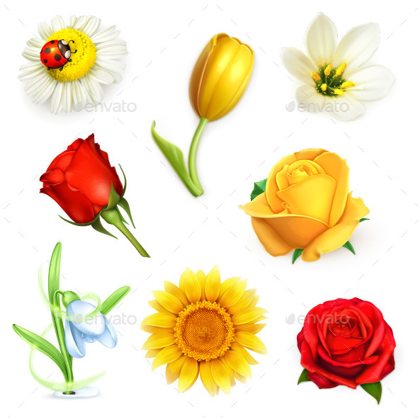 Summer Flowers Icons - Flowers & Plants Nature