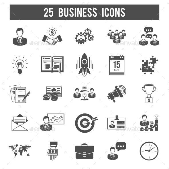 Business Startup Black Icons Set - Business Icons