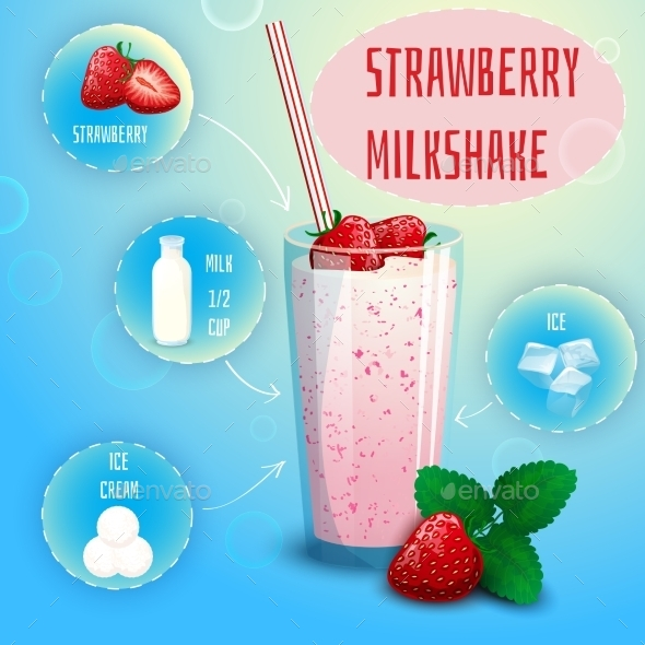 Strawberry Smoothie Milkshake Recipe Poster Print - Food Objects