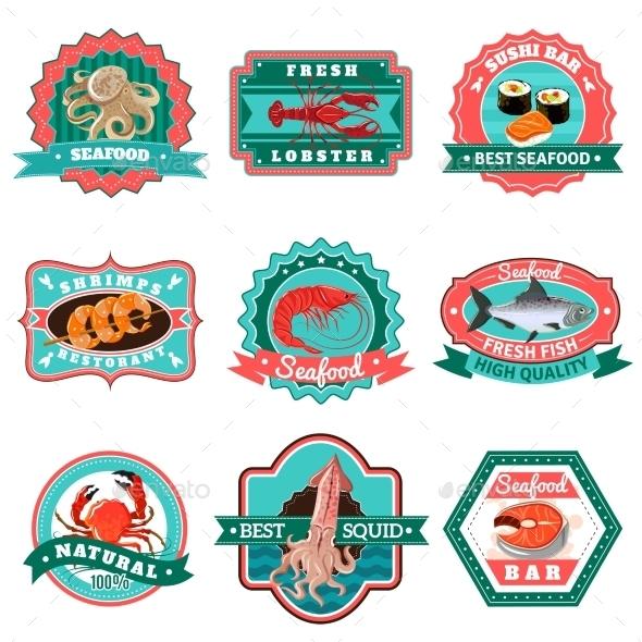 Seafood Emblems Set - Food Objects
