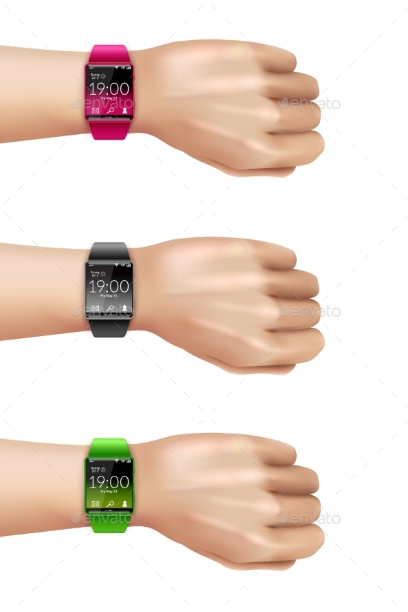 Smart Watch on Hand Decorative Icon Set - Man-made Objects Objects