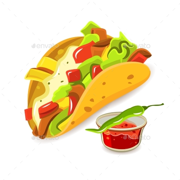 Mexican Food Taco Concept - Food Objects