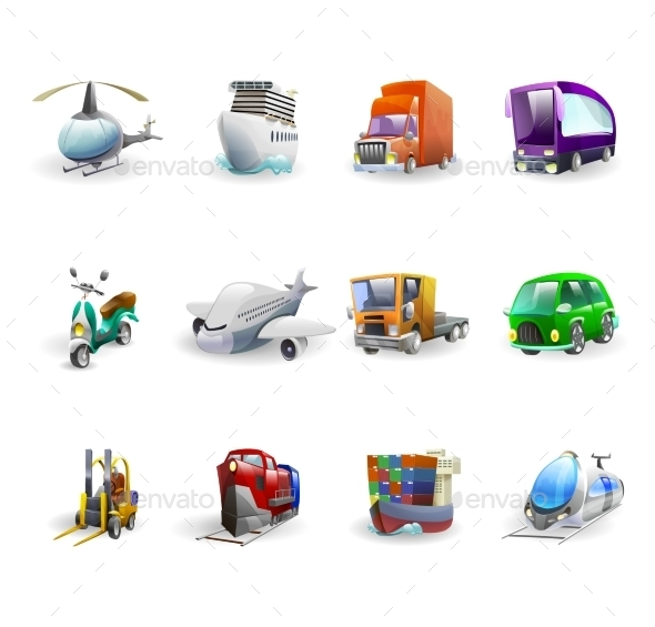 Transport and Delivery Icons Set - Industries Business