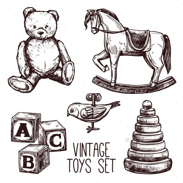 Vintage Toys Set - Man-made Objects Objects