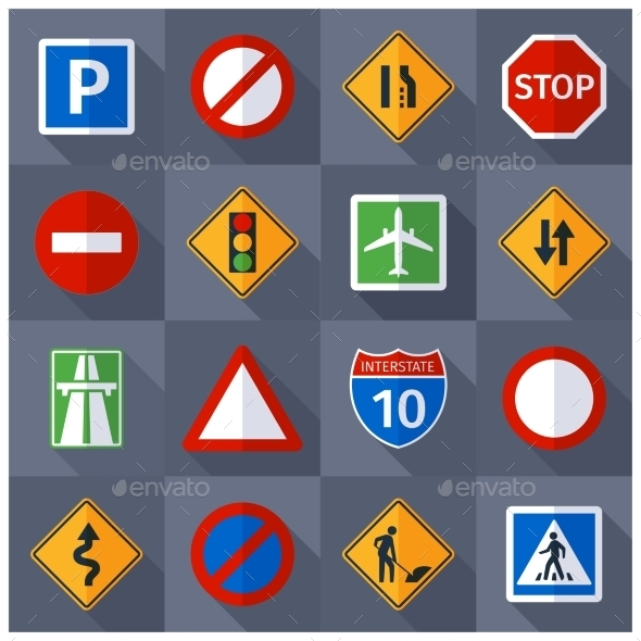 Road Traffic Signs Flat Icons Set - Buildings Objects
