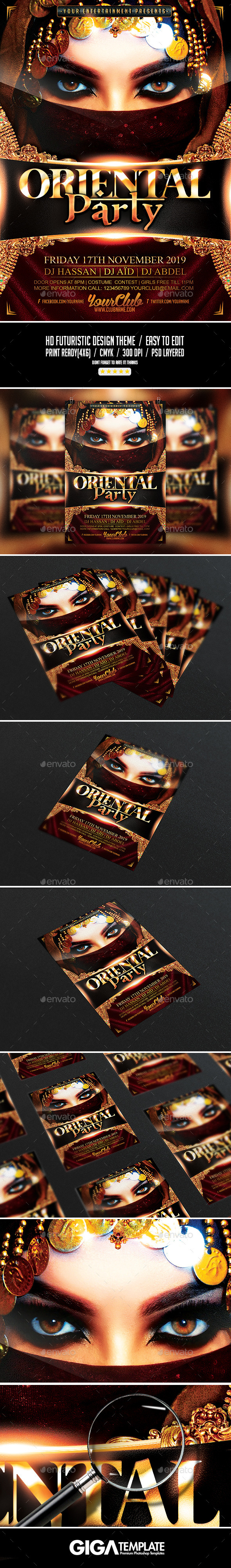 Oriental Party | Luxury Night Flyer PSD Template - Events Flyers