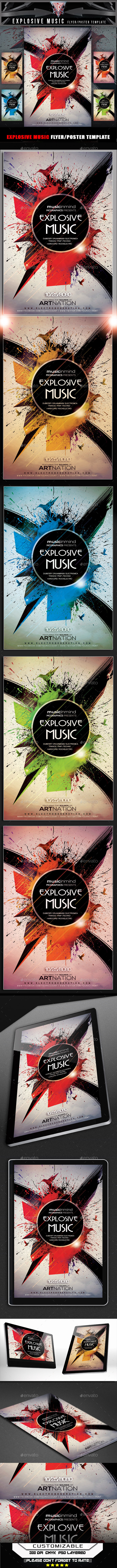 Exploded Music Flyer Template - Flyers Print Templates