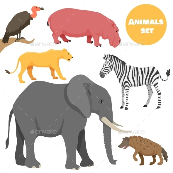 African Animals Set for Kids In Cartoon Style - Animals Characters