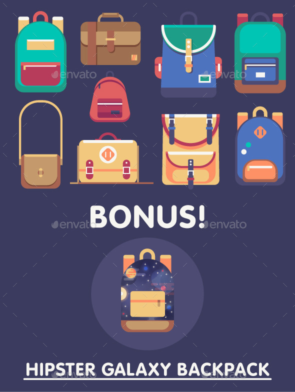 Backpacks Vector Set - Objects Vectors