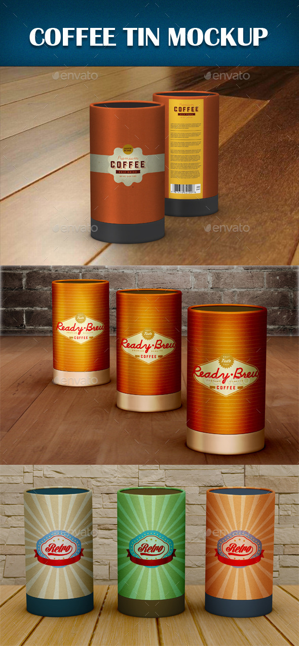 Coffee Tin Mockup - Food and Drink Packaging