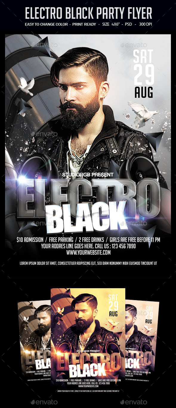 Electro Black Party Flyer - Clubs & Parties Events