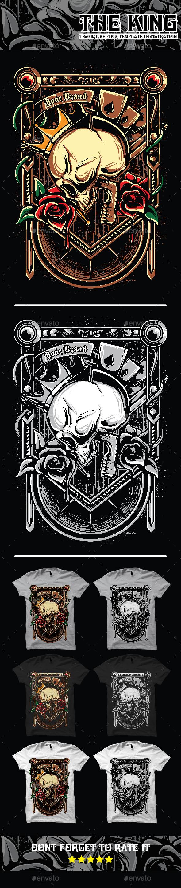 The King Skull Art Illustration Tshirt Template - Designs T-Shirts