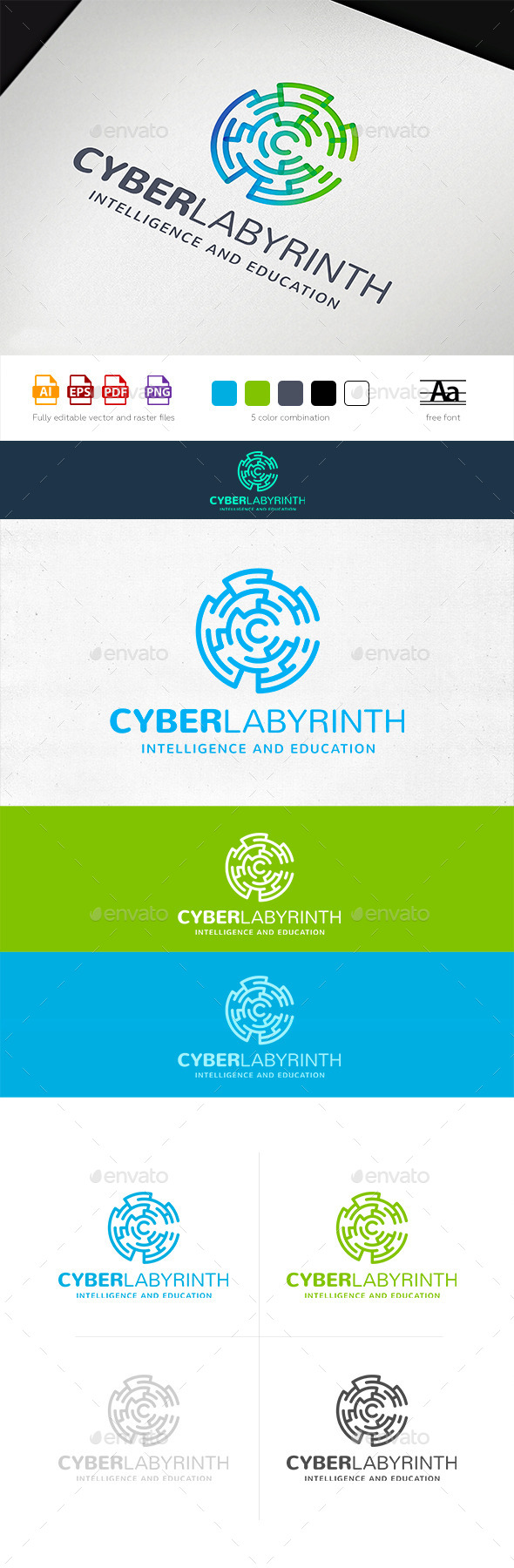 Cyber Labyrinth Logo Tamplate - Abstract Logo Templates