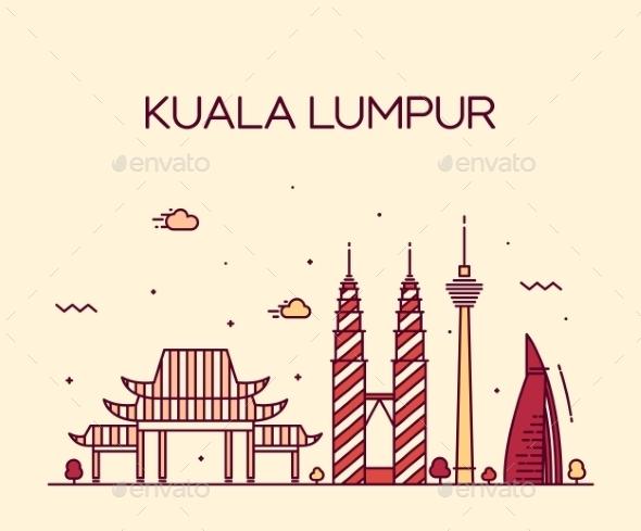 Kuala Lumpur Trendy Vector Illustration Line Art - Landscapes Nature