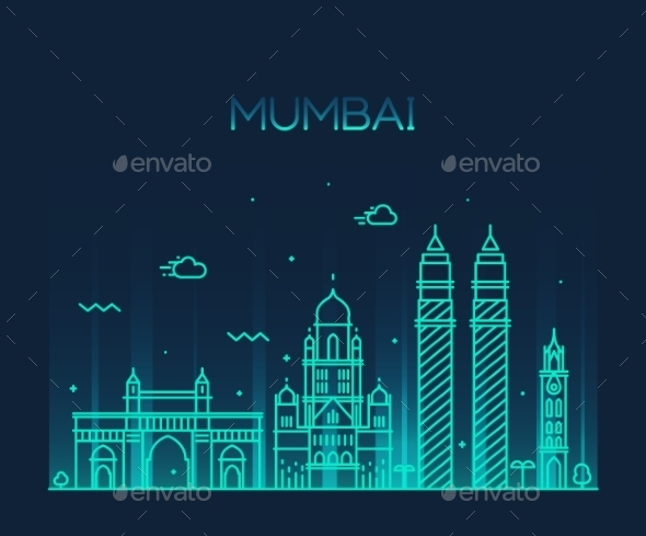 Mumbai City Skyline Vector Illustration Line Art - Buildings Objects