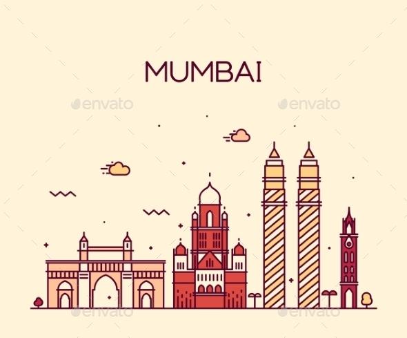 Mumbai City Skyline Vector Illustration Line Art - Buildings Objects
