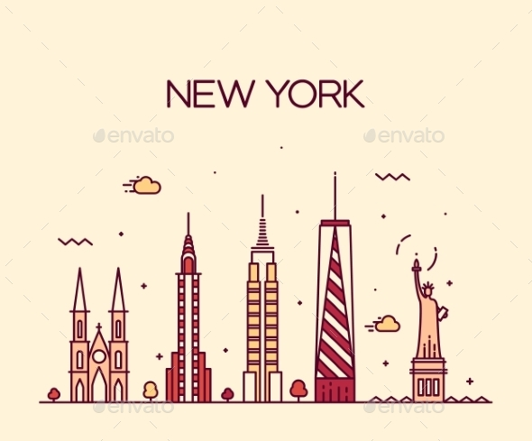 New York City Skyline Silhouette Line Art Style - Buildings Objects
