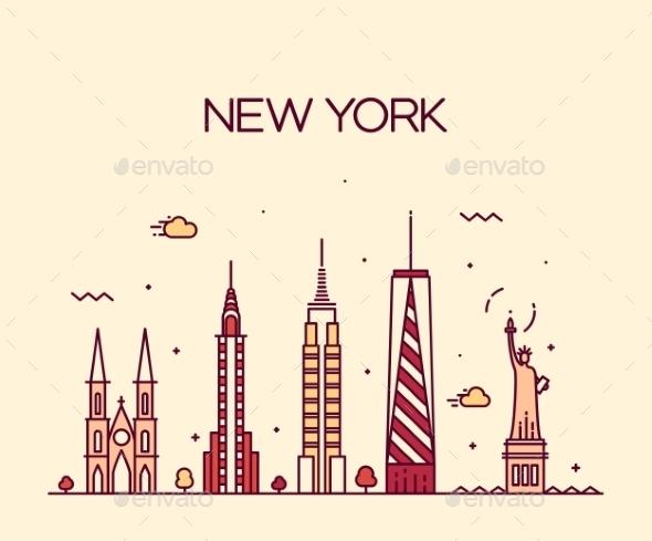 Line Art New York City : New york city skyline silhouette line art style by