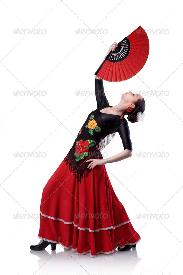 young woman dancing flamenco with fan isolated on white - Stock Photo - Images
