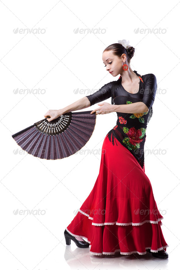 young woman dancing flamenco isolated on white - Stock Photo - Images