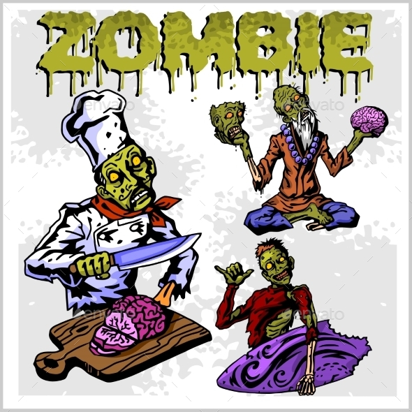 Cartoon Zombie Set - Halloween Seasons/Holidays