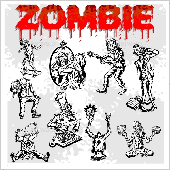 Cartoon Zombie  Set - Halloween Seasons/Holidays