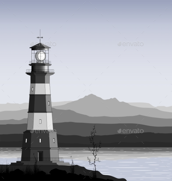 Lighthouse Against a Mountain Range - Buildings Objects