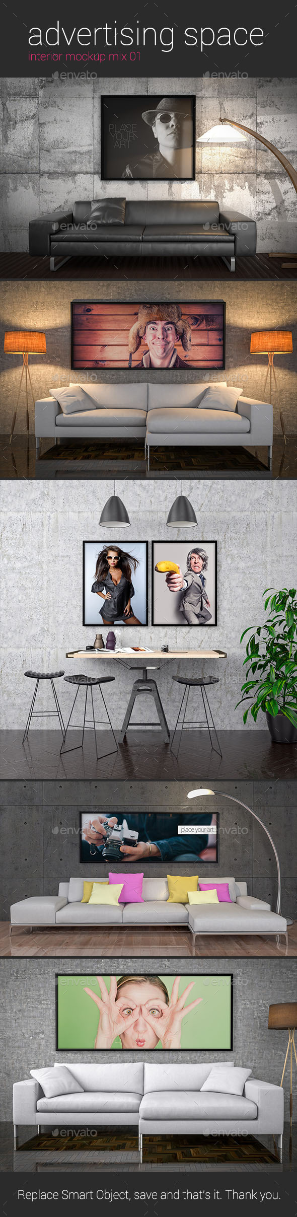 Advertising Space Interior Mockup Mix 01 - Posters Print