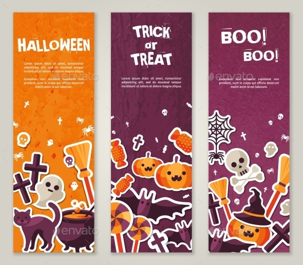 Vertical Banners Set with Halloween Symbols - Halloween Seasons/Holidays
