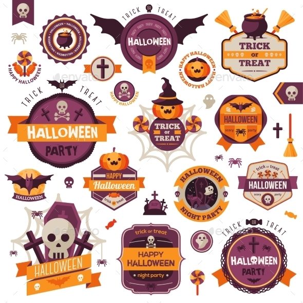 Set of Vintage Happy Halloween Badges and Labels - Halloween Seasons/Holidays
