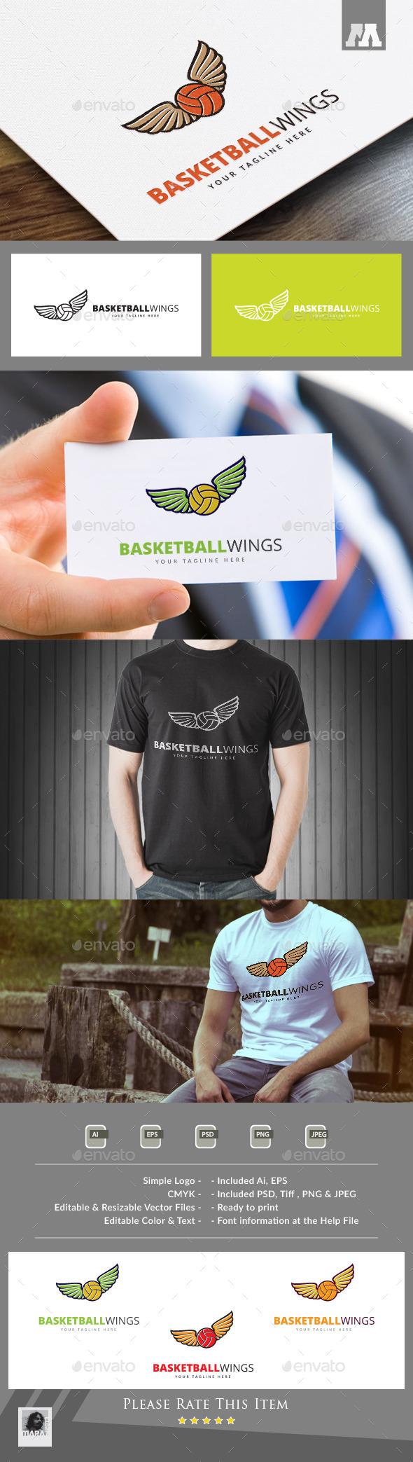 Basketball Wings Logo Template - Symbols Logo Templates