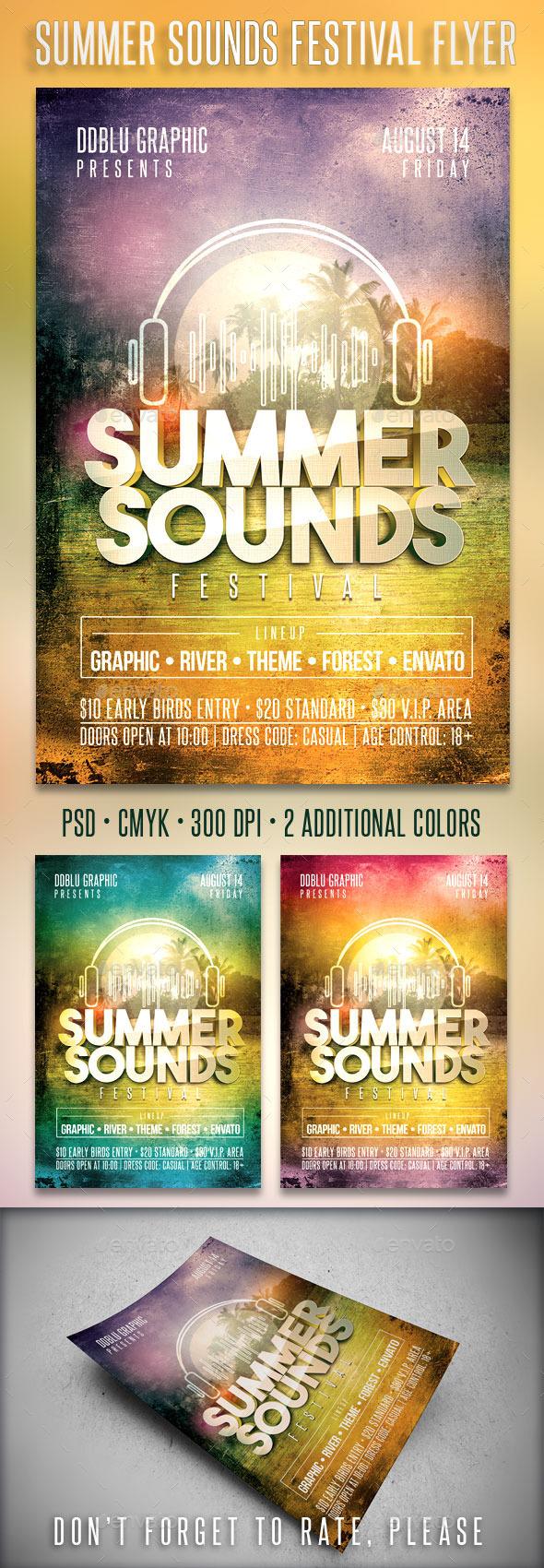 Summer Sounds Festival Flyer - Clubs & Parties Events