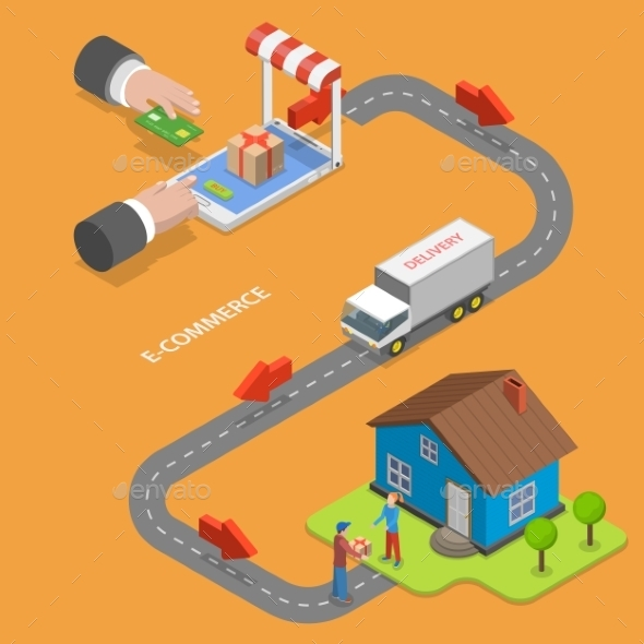 E-Commerce Flat Isometric Concept - Retail Commercial / Shopping