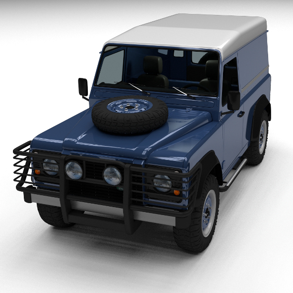 Land Rover Defender 90 Hard Top w interior - 3DOcean Item for Sale