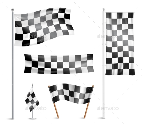 Checkered Flags Pictograms Collection - Man-made Objects Objects