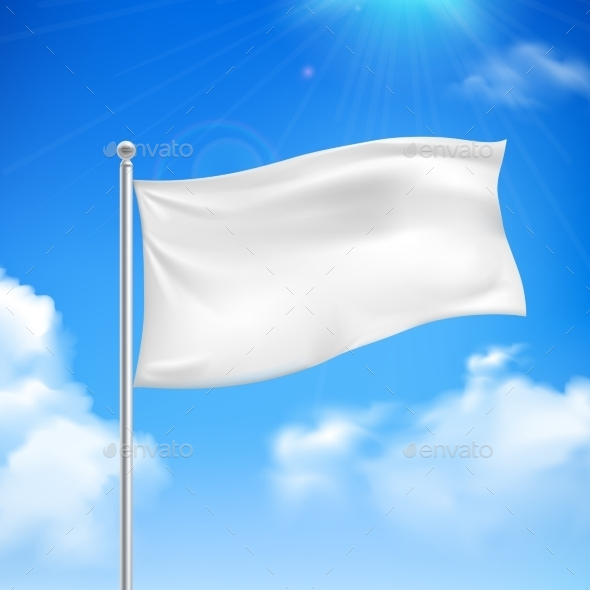 White Flag Blue Sky Background Poster - Man-made Objects Objects