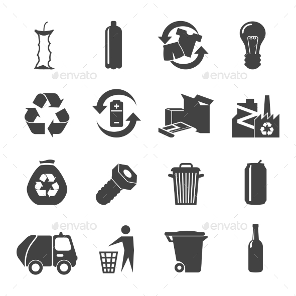 Recyclable Materials Icons Set  - Man-made objects Objects