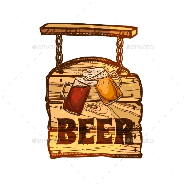 Bar Sign On Wooden Board - Miscellaneous Vectors