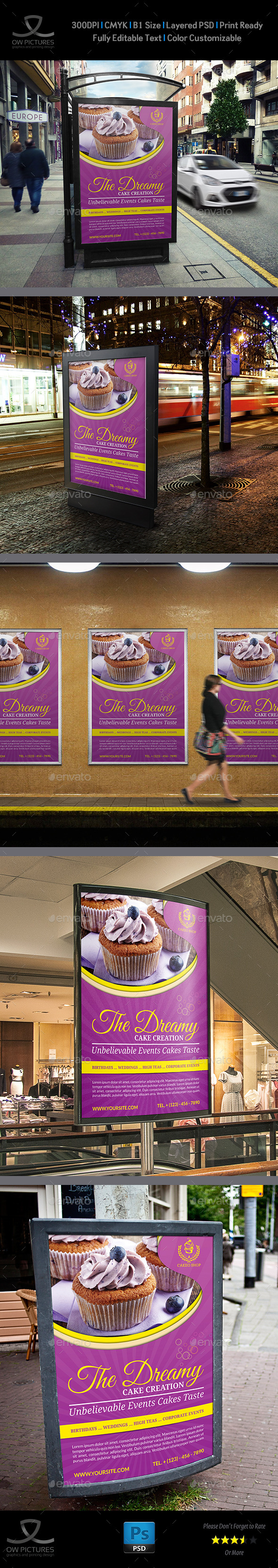 Cake Poster Template Vol.3 - Signage Print Templates