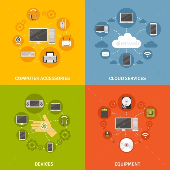 Computer Devices And Service Icon Set - Computers Technology