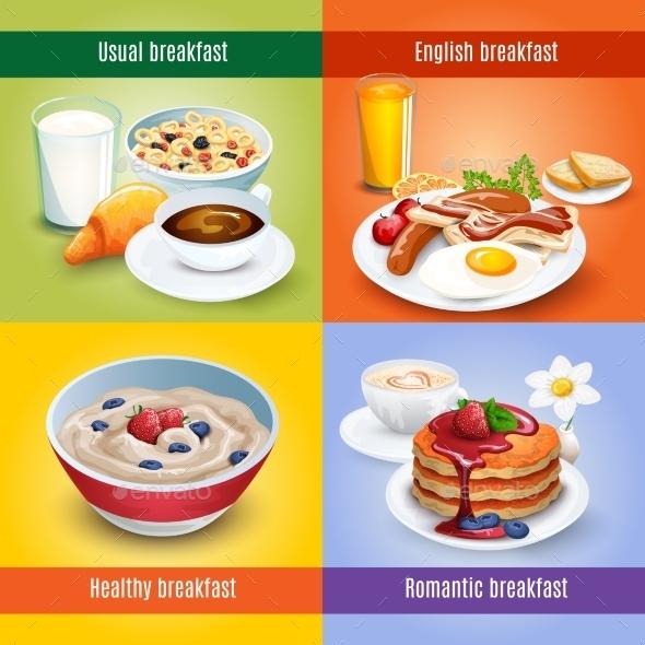 Breakfast 4 Flat Icons Square Combination - Miscellaneous Conceptual