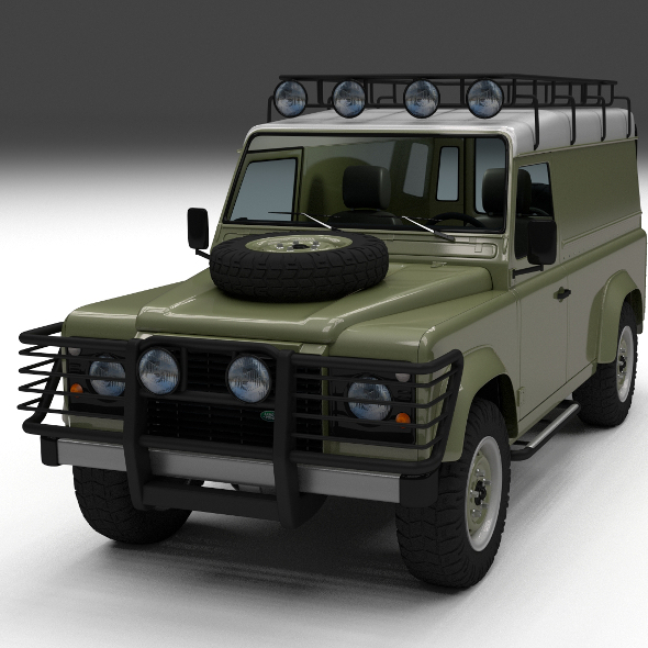 Land Rover Defender 110 Hard Top w interior - 3DOcean Item for Sale