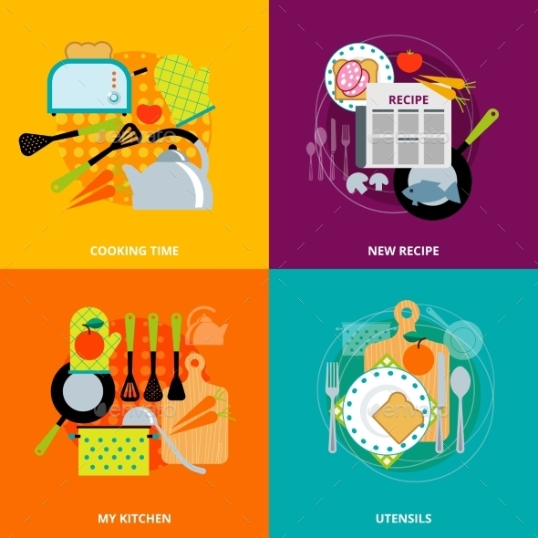 Cooking Concept 4 Flat Icons Square - Miscellaneous Conceptual