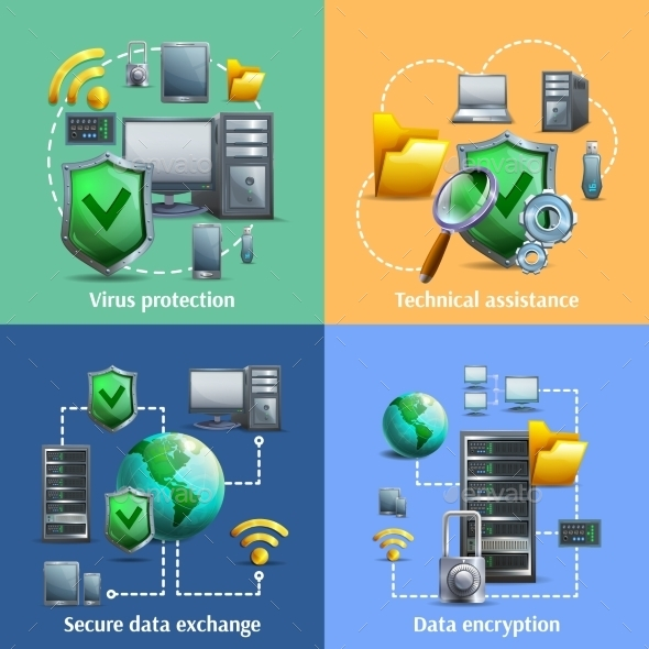 Data Encryption and Security Icons Set - Web Technology