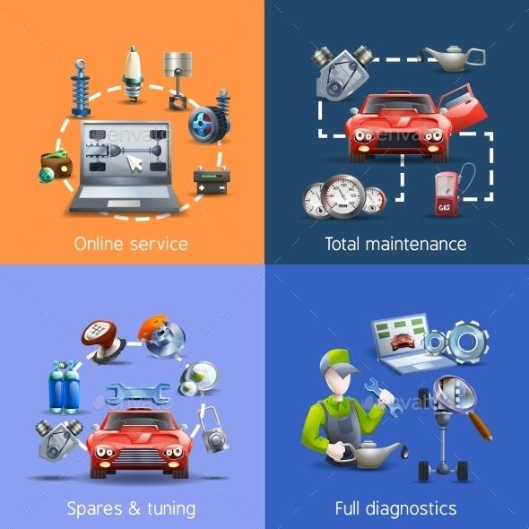 Car Maintenance Cartoon Icons Set  - Technology Conceptual
