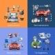 Car Maintenance Cartoon Icons Set