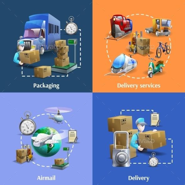 Transportation and Delivery Icons Set  - Industries Business