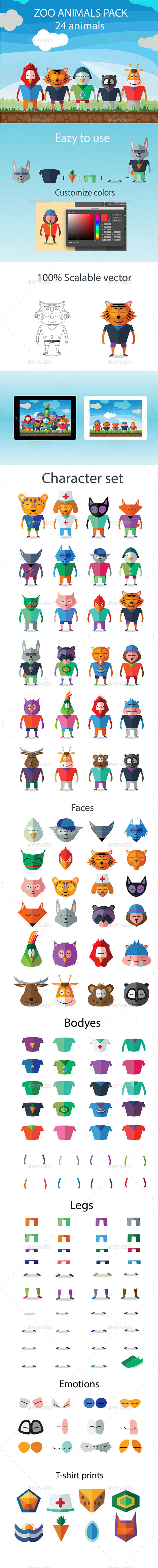 24 Animals Characters Set - Miscellaneous Characters