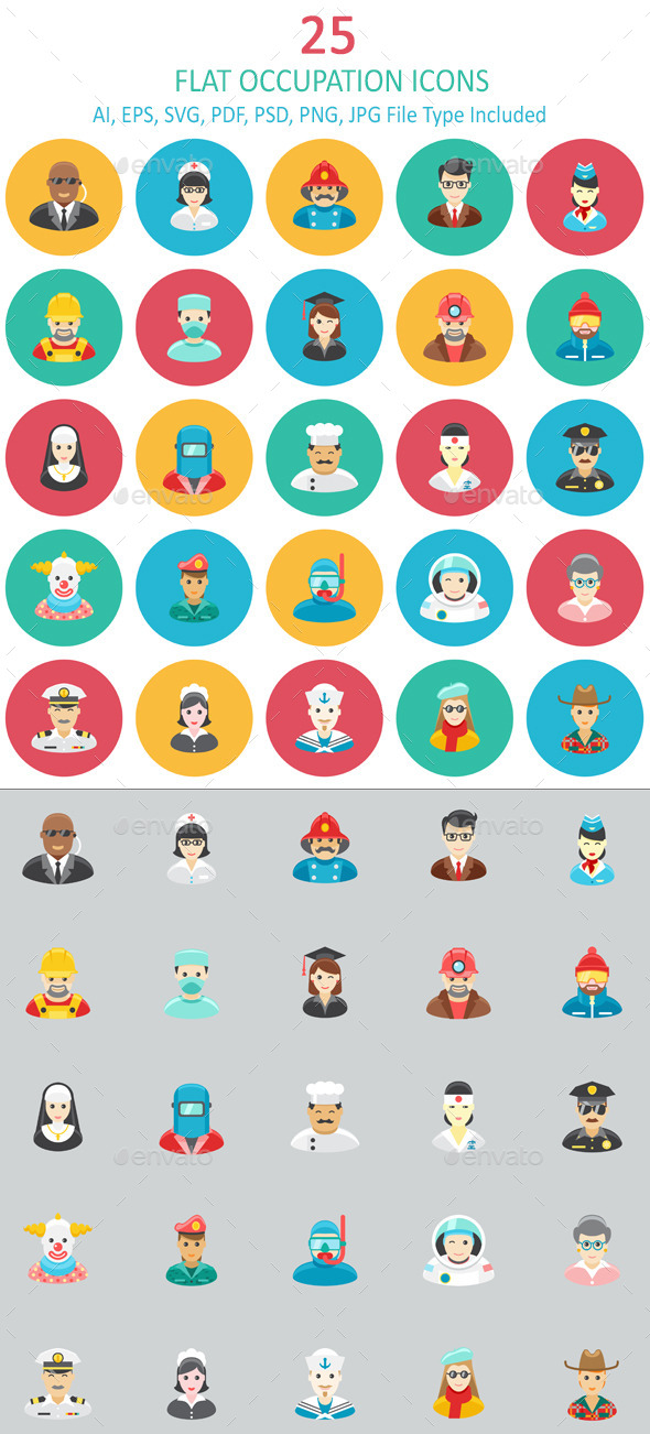 Flat Occupation Icons - People Characters