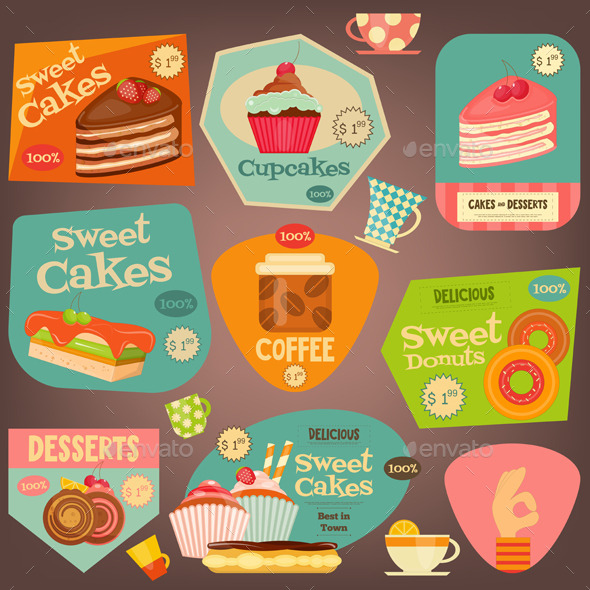 Set of Cakes Stickers - Food Objects